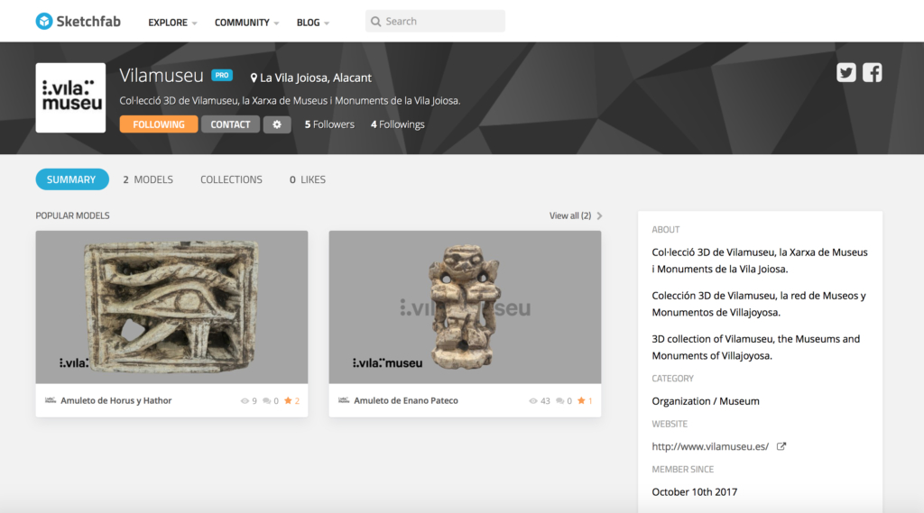 perfil oficial sketchfab vilamuseu